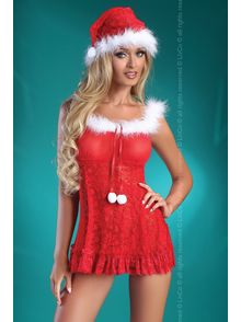 Christmas Bell chemise, g-string and Santa hat