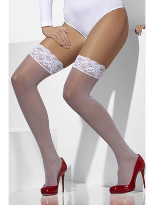 Sheer white lace top hold ups with silicone
