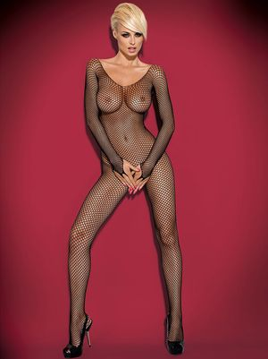 Long sleeved open crotch fishnet body stocking N109