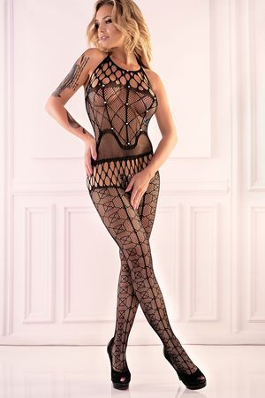 Alizam Black Studded Bodystocking