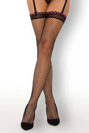 Chinedu Black Fishnet Lace Top Stockings