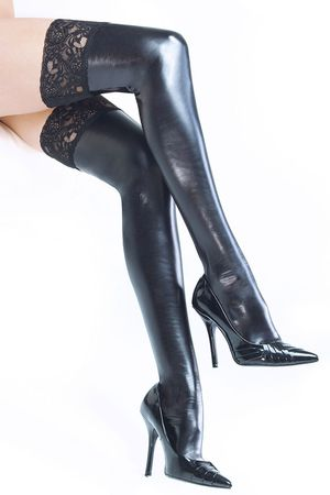 Coquette Wet Look Hold-Ups with Black Lace Top